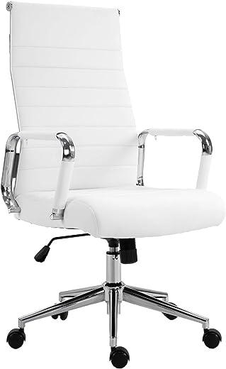 SVITA Elegance Comfort Bürostuhl Kunstleder weiß Schreibtischstuhl Drehstuhl
