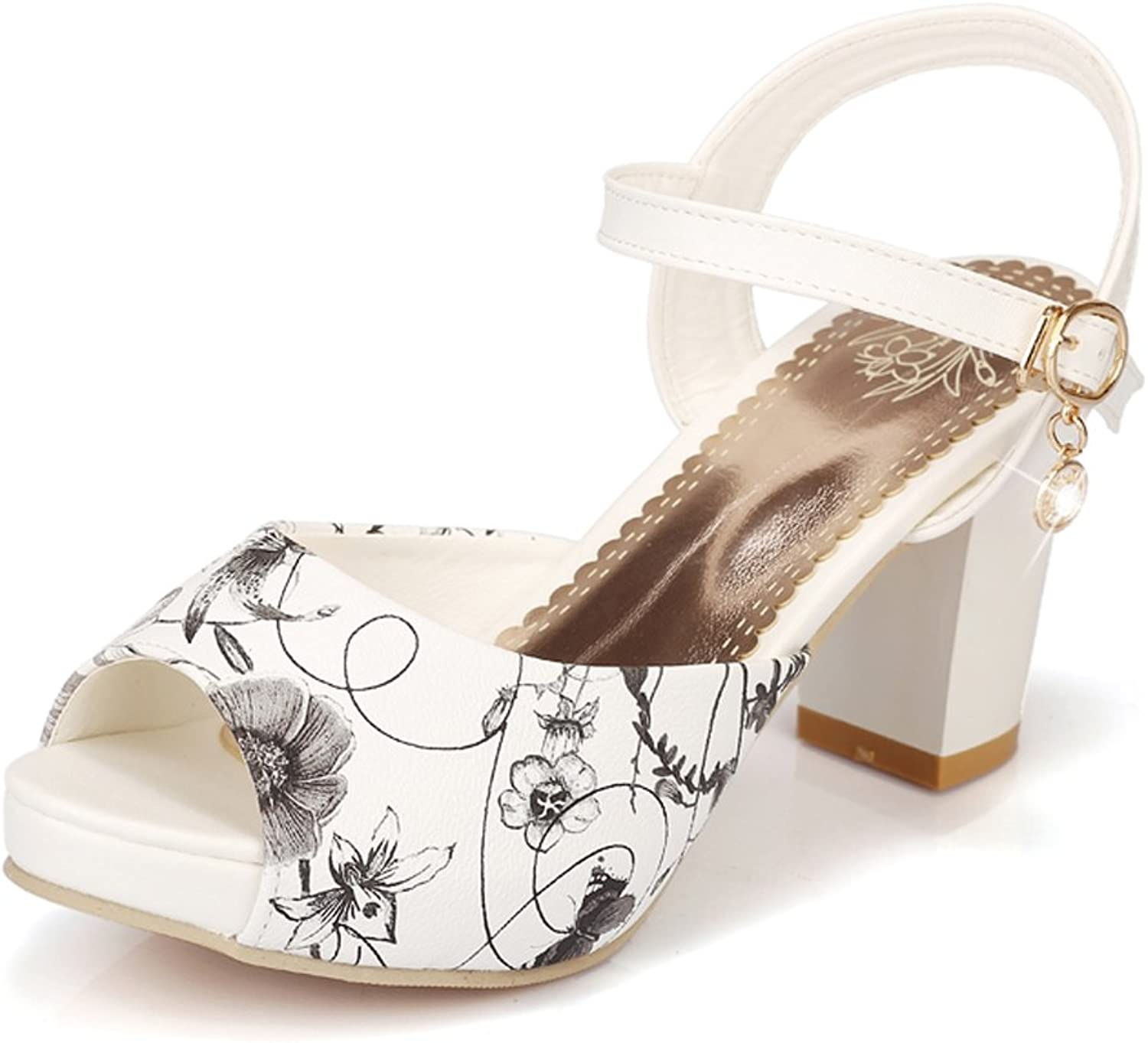 AIWEIYi Womens Print Open Toe Square High Heel Ankle Strap Strappy Sandals White