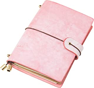 Classic Genuine Leather Soft Cover Notebook,Refillable Pages Leather Journal for Gifts,Diary,Handmade Personalized Traveler's Notebook (Pink, Passport Size)