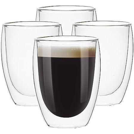 [4 unidades, 12 onzas] tazas de cristal, vasos de café termo de doble pared, tazas de café aisladas, vasos de beber