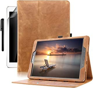 Galaxy Tab S3 9.7 Case, BoriYuan Genuine Leather Multiple Viewing Angles Stand Folio Flip Cover with Auto Sleep/Wake Feature and Pen Holder for Galaxy Tab S3 Tablet(9.7 inch), Brown