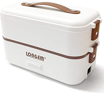 Electric Lunch Box Portable Food Warmer for Home Office Work 110V 2 and 3 Layers 304 Stainless Steel with Removable Food Container and Spoon (White, 2 Layers)