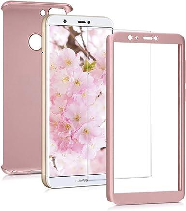 kwmobile Funda para Huawei Enjoy 7S / P Smart - Carcasa Protectora Completa con [Cristal Templado] - Cover con Protector de Pantalla [Duro]