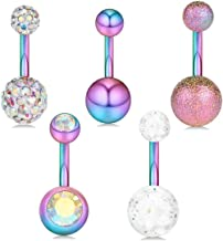 """Kjiasiw Belly Button Rings Surgical Stainless Steel 14G CZ Navel Belly Ring 3/8"""" 10mm Piercing Barbell Body Jewelry"""