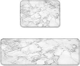 Prime Leader 2 Piece Non-Slip Kitchen Mat Runner Rug Set Doormat White Marble Door Mats Rubber Backing Carpet Indoor Floor...
