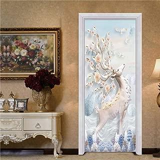 Boris Felix Non Adhesive Frosted Window Film Glass Stickers,Beautiful Cherry Tree 3D Door Stickers PVC Self Adhesive Wallpaper DIY Waterproof Mural Decals for Living Room Bedroom (15