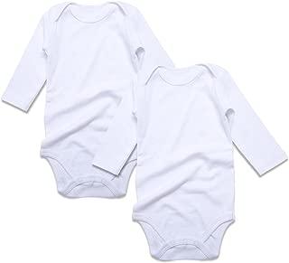 Baby Bodysuit Solid Pack 2 Long Sleeve Onsies for Newborn Boys Girls 0-24 Months