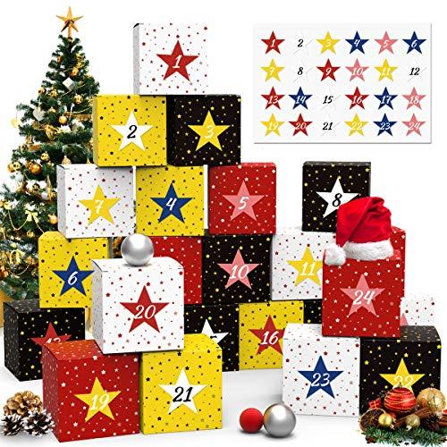 Cheer4bee Adventskalender zum Befüllen, 24 Weihnachtliche Boxen Stern mit 24 Zahlenaufklebern für einen DIY Adventskalender zum Basteln und Befüllen
