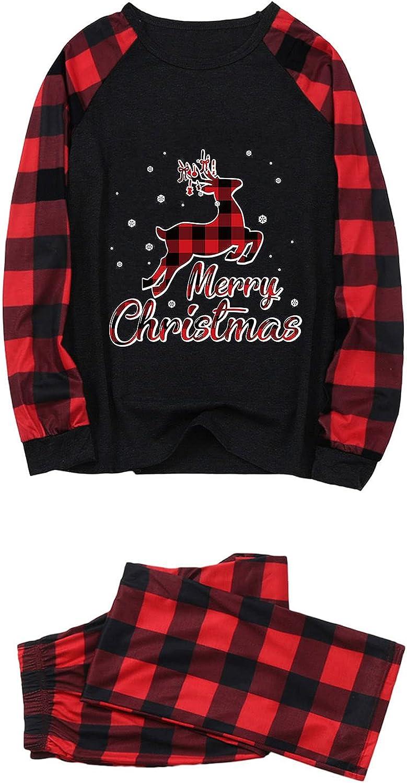 Family Christmas Pjs Matching Sets Merry Christmas Elk Loungewear Letter Print Long Sleeve Women Men Sleepwear