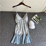 Camisón De Pijama De Mujer - Ropa De Dormir De Encaje Sexy Mujer Vestido De Dormir Satinado Vestido De Noche Falda De Sueño De Primavera con Cuello En V Correa Ropa Interior Suave Ropa Interior Se