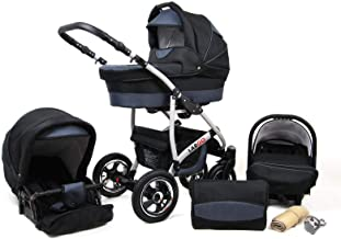 Kinderwagen 3in1 2in1 Set Isofix Buggy Babywanne Autositz New L-Go by SaintBaby Schwarz & Graphit 3in1 mit Babyschale