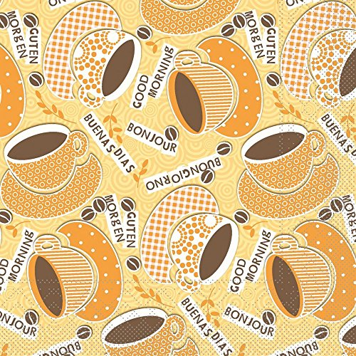 Sovie HORECA Serviette Kaffee Ole   Tissue 33x33 cm   Frühstück Brunch Gastronomie   100 Stück Gelb-Orange
