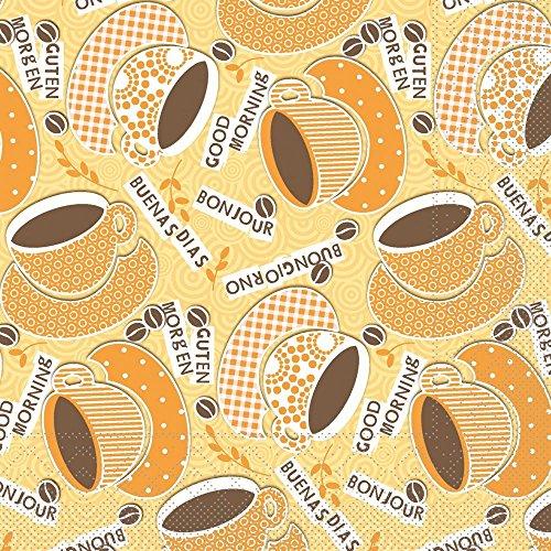 Vlag HORECA servet koffie olie | Tissue 33x33 cm | Ontbijt Brunch Gastronomie | 100 stuks geel-oranje