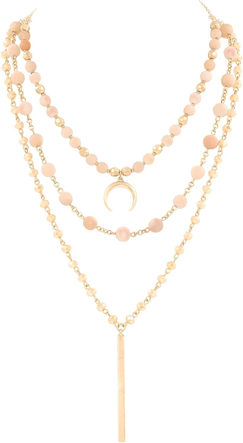 POMINA Peach Stone Iridescent Peach Glass Layered Necklace Gold-Tone 3 in 1 Removable Strands 16 Inch