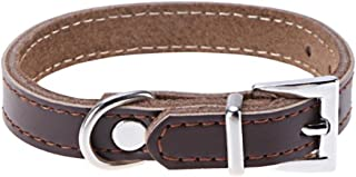 GVGs Shop 1 Pack Coffee Color PU Leather Dog Collar Dogs Puppy Pet Cat Durable Padded Neck Belt Strap Soft Elastic Bow Bell Tag Immaculate Popular Reflective Safety Breakaway Training Kitten Collars