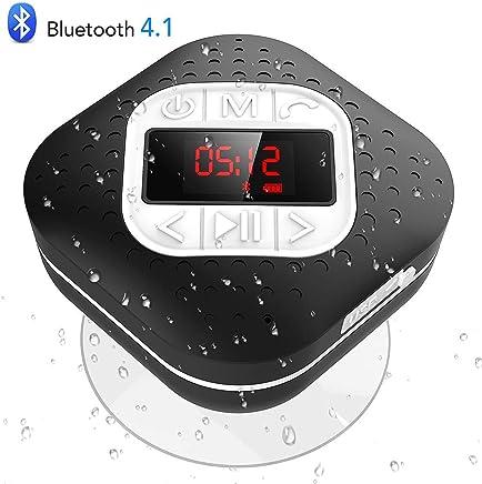 Altavoz Bluetooth Ducha Impermeable con Ventosa Extraíble, AGPTEK Radio Ducha Portátil con Pantalla Funciones de Radio FM, Manos Libre, Microfono, Reloj ect, Negro