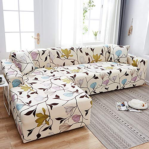 ASCV Fundas de sofá de Esquina en Forma de L para Sala de Estar Fundas de sofá Funda de sofá elástico elástico seccional sofá Cubre sofá A7 2 plazas