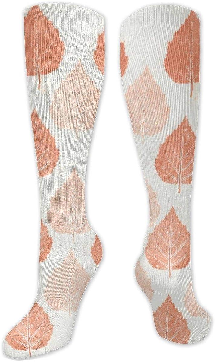 Orange Leaves Vein Pattern Knee High Socks Leg Warmer Dresses Long Boot Stockings For Womens Cosplay Daily Wear