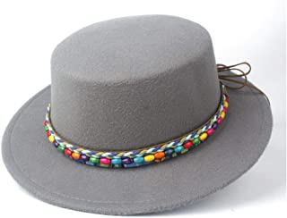 2019 Mens Womens Hats Steampunk Women for Men Wool Flat Top Fedora Hat Bowler Hat Travel Fascinator Tea Winter Wool Trilby Jazz Hat Bowler Hat Church Hat Autumn (Color : Gray, Size : 56-58)