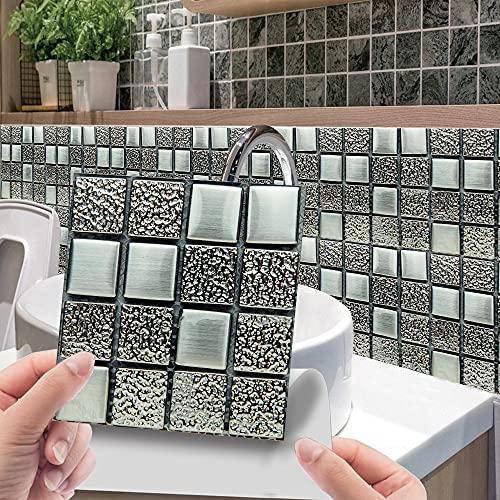 Azulejos de pared de mosaico 3D, papel tapiz de pegatinas de pared de película brillante recubierto de PVC, decoración autoadhesiva extraíble habitación cocina baño 20cm*20cm 10 piezas JHXC183