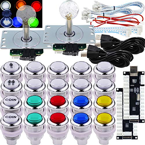 SJ@JX Arcade 2 Player Game Controller LED Buttons Chrome Paint MX Microswitch 8 Way Joystick USB Encoder Cable Stick DIY Kit for PC MAME Raspberry Pi Multicolor