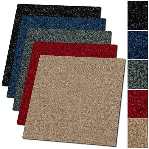 Floori Teppichfliesen - 1m² - Farbe wählbar - Premiumklasse (2,6kg/m², antistatisch, Bitumen)