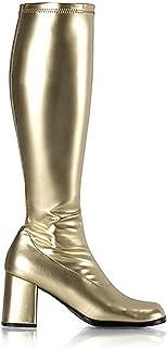 6f899ab60821 Summitfashions Womens Metallic Gold Boots 3 Inch Block Heel Knee High Go Go  Boots Costume Shoe