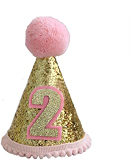 Finduat Baby Girl Second 2 Birthday Cone Hat, Baby Girl Birthday Tiara Adjustable Headbands for Baby Girl 2nd Birthday Party Supplies