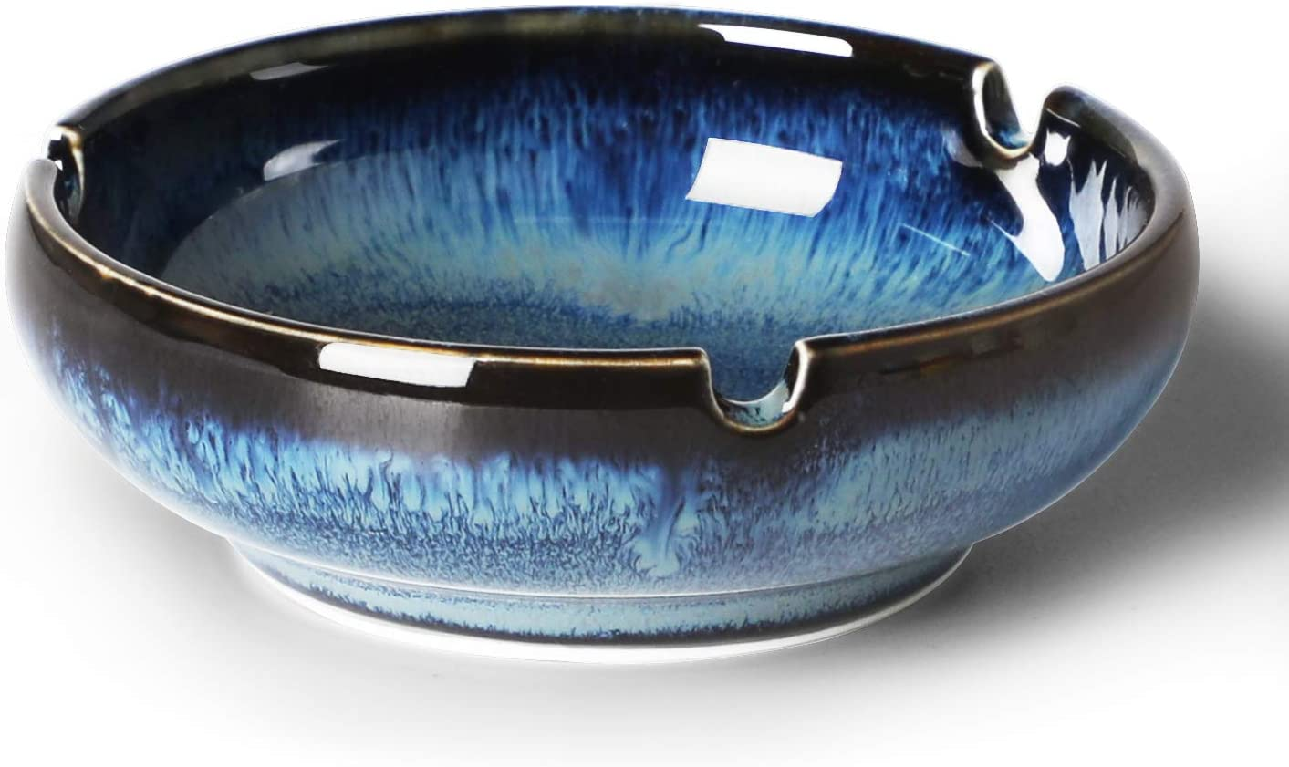 MUZITY Small Ceramic Ashtray Ash Holder for Smokers and Easy to Clean 3.8-Inch Gradient Blue