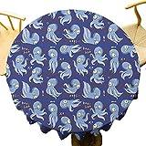VICWOWONE - Mantel de pulpo de 40 pulgadas, suave, redondo, diseño de animales cómicos, divertido dibujo de los habitantes del océano, mesa de protección temática subacuática, multicolor