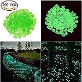 Piedras decorativas Candora®, artificiales, luminosas que brillan en la oscuridad, para jardines, exterior, peceras, 200 unidades, verde