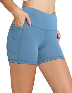 "BALEAF Women`s 8"" /5"" High Waist Biker Yoga Workout Running Compression Exercise Shorts Side Pockets (Regular/Plus Size)"