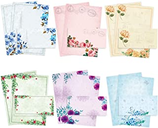 Stationary Paper with Envelopes Pack of 48 - Japanese Stationery Set Vintage Floral Letter Writing Paper - 8.5 x 11 Inch