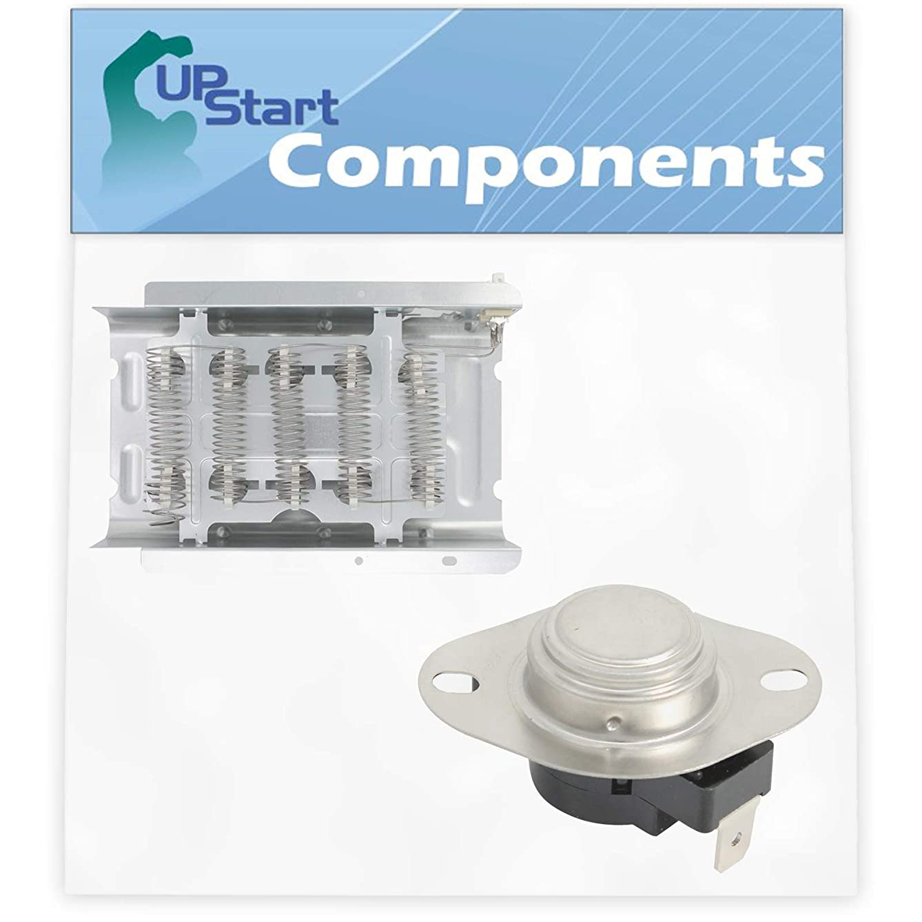 279838 Dryer Heating Element & 3390291 High Limit Thermostat Kit Replacement for Roper REL4634BW3 Dryer - Compatible with 279838 and 3390291 Heater Element and Thermostat Combo Pack