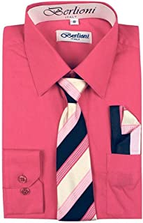 Italy Toddlers Kids Boys Long Sleeve Dress Shirt Set with Tie & Hanky