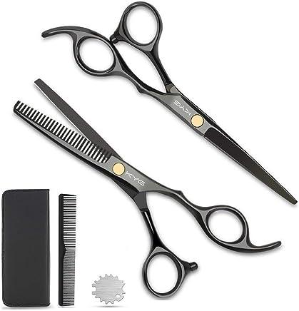 KYG Set 2 Ciseaux Coiffure 6 Pouces Professionnels et de Coupe de Cheveux Amincissement en Acier Inoxydable Désépaissir Effiler Sculpteur Peigne De Coiffure avec Emballage - Noir