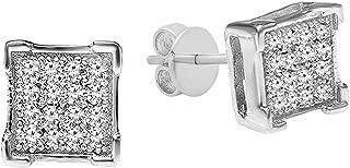 0.06 Carat (ctw) White Diamond V Prong Square Mens Hip Hop Iced Stud Earrings, Sterling Silver