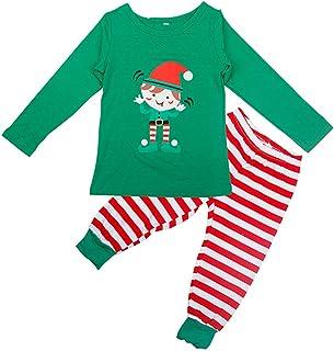 ABOOFAN Traje de Elfo Navideño Conjunto Bebé Traje de Navidad Bebé Niño Niña Mono a Rayas de Navidad para Niños Pequeños Niños Niñas Traje de Navidad Pijamas Ropa Tamaño 130