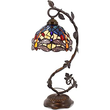 Tiffany Desk Lamp Stained Glass Table Reading Banker Light Crystal Bead Blue Yellow Dragonfly Style Shade W8H22 Inch S128 WERFACTORY LAMPS Parent Lover Kids Living Room Bedroom Coffee Bar Crafts Gifts