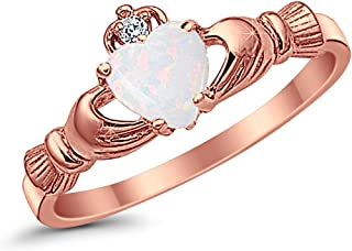 925 Sterling Silver Claddagh Ring Rose Tone Rhodium Plated Created Fiery Lab Created White Opal CZ Accent