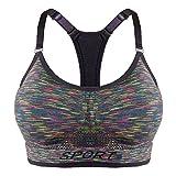 Libella Mujer Sujetador Deportivo Push Up Bustier con Amplio Correas Fitness Yoga Camisetas Sin Mangas 3714 Gris Colorido L/XL