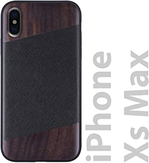 iATO iPhone Xs Max Designer Case - Black Saffiano Genuine Leather and Real Bois de Rose Wood Premium Protective Bumper. Unique Wooden Cover for 6.5