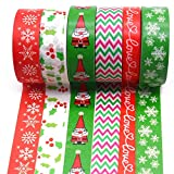 """Christmas Washi Tape Set, 6Rolls Merry Christmas Masking Tape Decorative for Xmas Decor Holiday Christmas Party Favors Craft Supplies, 0.6"""" x 32.8ft"""