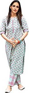 GoSriKi Women's Green Cotton Printed Straight Kurta With Checkered Trouser