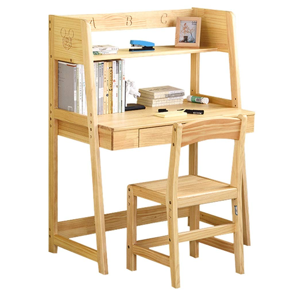 Juegos de mesas y sillas Mesa para Niños De Escritorio De Madera Maciza Mesa De Estudio Multifunción Combinación Plegable Hogar 1 Mesa 1 Juego De Sillas (Color : Brown, Size : 45 * 85 * 110cm): Amazon.es: Hogar