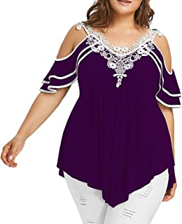 Womens Plus Size Cold Shoulder Tiered Lace Appliques Butterfly Sleeve V-Neck T-Shirt Tops Black
