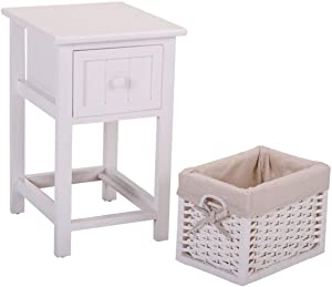 Veryke Night Stand with Drawer and Wicker Basket, White End Table Storage Cabinet for Bedroom, Living Room, Dining Room Furniture
