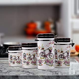 Kookee™ Ceramic Airtight Canister Jars & Containers Set for Food Storage in Kitchen (Pack of 4), (20cm,17cm,14cm,12cm) - B...