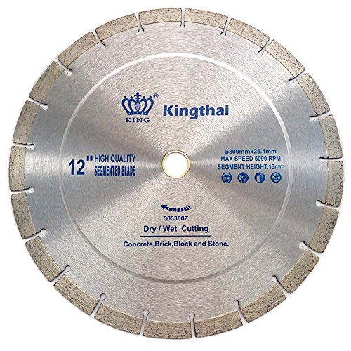 Kingthai 12 Inch Wet Dry Segmented Cutting Concrete Diamond Saw Blade for Masonry with 1-7/8' Arbor