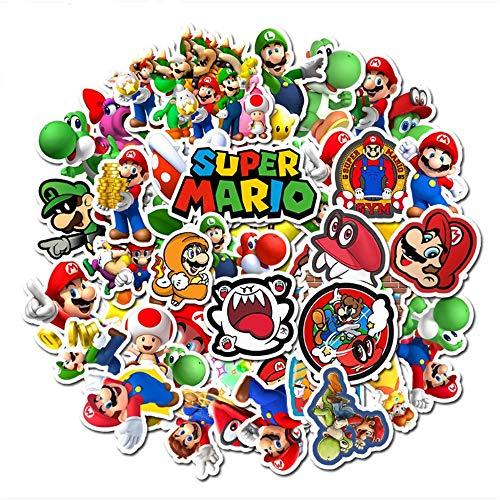 ZAQQ 50 Cartoon-Spiele Super Mario Aufkleber Kinder Koffer Gitarre Gekritzel Aufkleber